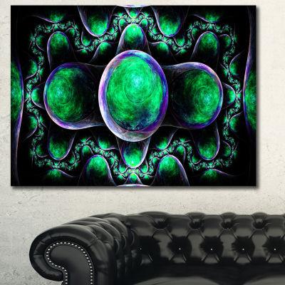 Designart Green Exotic Fractal Pattern Abstract Canvas Wall Art