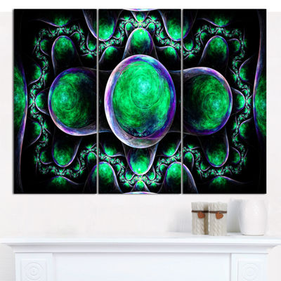 Designart Green Exotic Fractal Pattern Abstract Canvas Wall Art - 3 Panels
