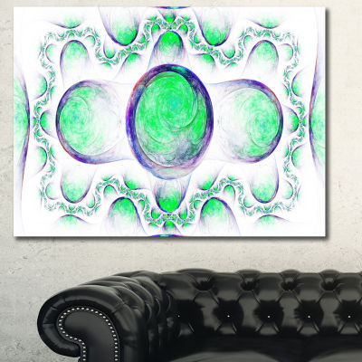 Designart Green Exotic Pattern On White Abstract Canvas Wall Art