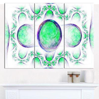 Designart Green Exotic Pattern On White AbstractCanvas Wall Art - 3 Panels
