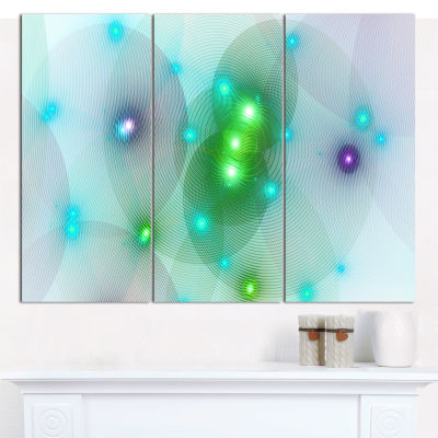 Designart Green Fractal Lights In Fog Abstract Canvas Wall Art - 3 Panels