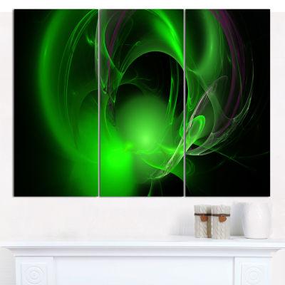 Designart Green Galactic Nebula On Black AbstractCanvas Wall Art - 3 Panels
