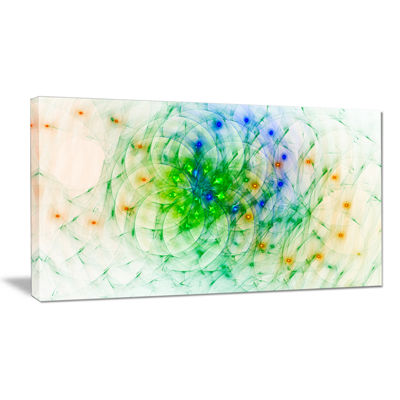Designart Green Outline Of Fractal Colors AbstractCanvas Wall Art