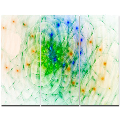 Designart Green Outline Of Fractal Colors AbstractCanvas Wall Art - 3 Panels