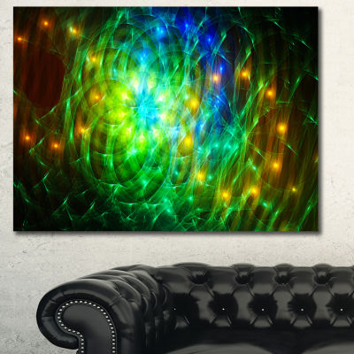 Designart Green Fractal Symphony Of Colors Abstract Canvas Wall Art