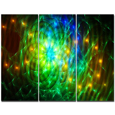Designart Green Fractal Symphony Of Colors Abstract Canvas Wall Art - 3 Panels