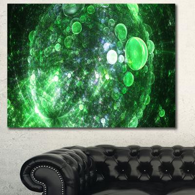 Designart Green Fractal Planet Of Bubbles AbstractCanvas Wall Art