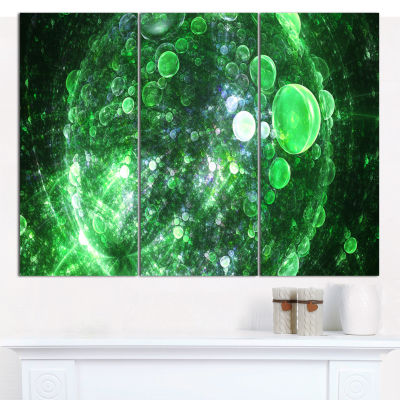 Design Art Green Fractal Planet Of Bubbles AbstractCanvas Wall Art - 3 Panels