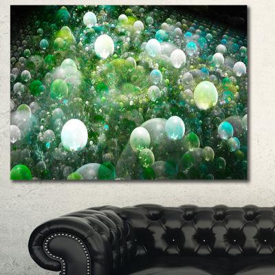 Designart Green Fractal Molecule Pattern AbstractCanvas Wall Art
