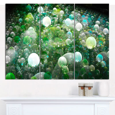 Designart Green Fractal Molecule Pattern AbstractCanvas Wall Art - 3 Panels