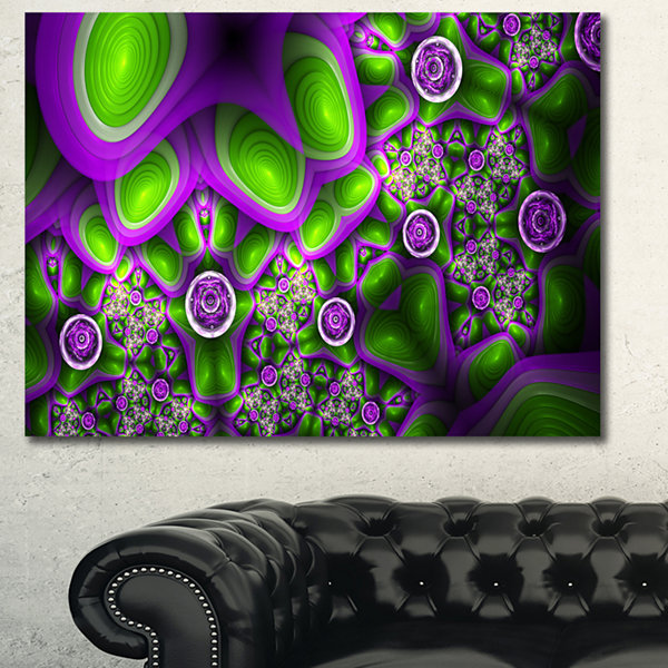 Designart Green Purple Exotic Pattern Abstract Canvas Wall Art