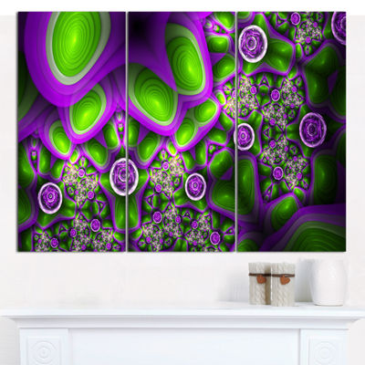 Designart Green Purple Exotic Pattern Abstract Canvas Wall Art - 3 Panels