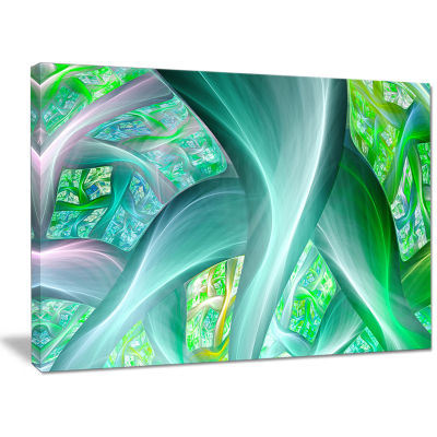 Designart Green Fractal Exotic Plant Stems Abstract Canvas Wall Art