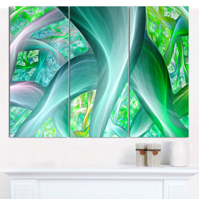 Designart Green Fractal Exotic Plant Stems Abstract Canvas Wall Art - 3 Panels