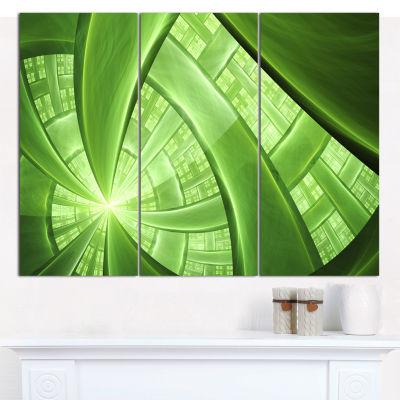 Designart Green Fractal Exotic Plant Stems Abstract Canvas Art Print - 3 Panels