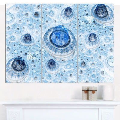 Design Art Light Blue Fractal Exotic Planet Abstract Canvas Wall Art - 3 Panels