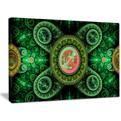 Designart Green Psychedelic Relaxing Art AbstractCanvas Wall Art