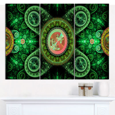 Designart Green Psychedelic Relaxing Art AbstractCanvas Wall Art - 3 Panels