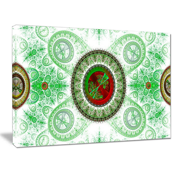 Designart Light Green Psychedelic Relaxing Art Abstract Canvas Wall Art