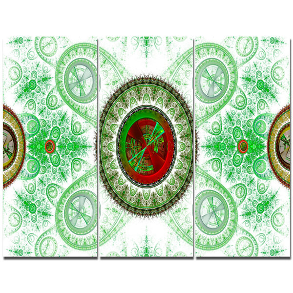 Designart Light Green Psychedelic Relaxing Art Abstract Canvas Wall Art - 3 Panels