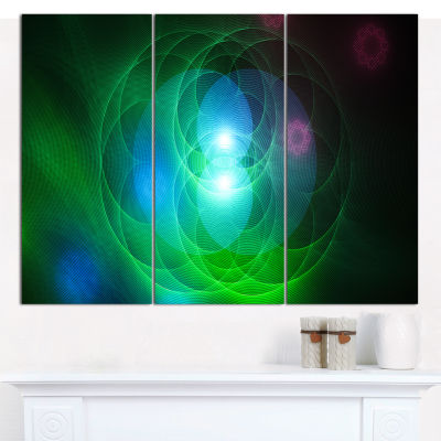 Designart Merge Colored Spheres Abstract Canvas Art Print - 3 Panels