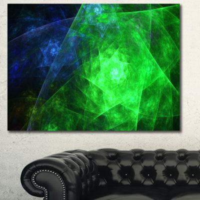 Designart Green Rotating Polyhedron Abstract Canvas Wall Art