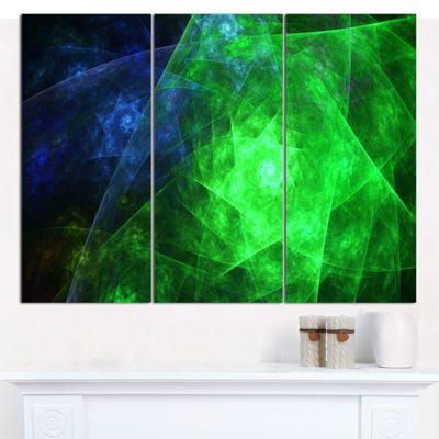 Designart Green Rotating Polyhedron Abstract Canvas Wall Art - 3 Panels