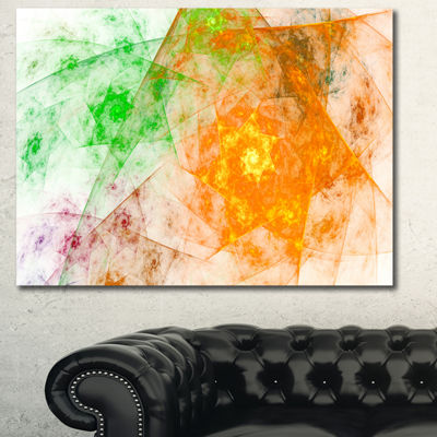 Designart Green Yellow Rotating Polyhedron Abstract Canvas Wall Art