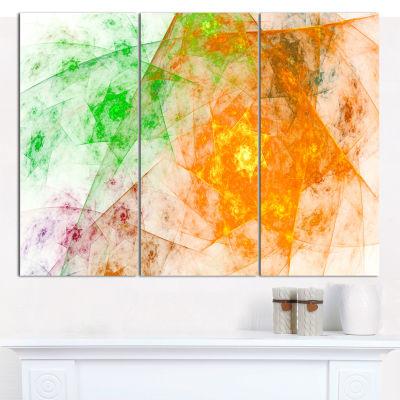 Designart Green Yellow Rotating Polyhedron Abstract Canvas Wall Art - 3 Panels