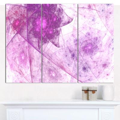 Designart Light Purple Rotating Polyhedron Abstract Canvas Wall Art - 3 Panels