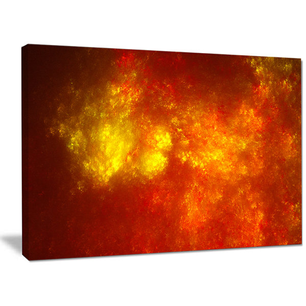Designart Orange Starry Fractal Sky Abstract Canvas Wall Art