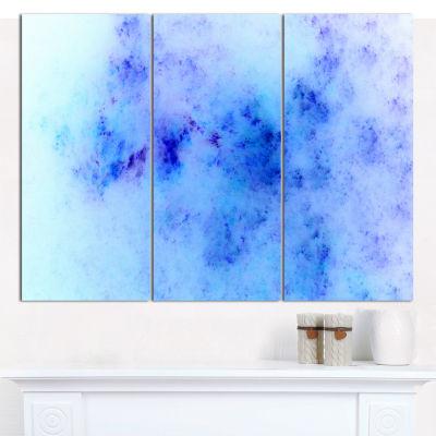 Designart Light Blue Starry Fractal Sky AbstractCanvas Wall Art - 3 Panels