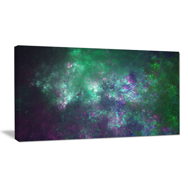 Designart Green Starry Fractal Sky Abstract CanvasWall Art