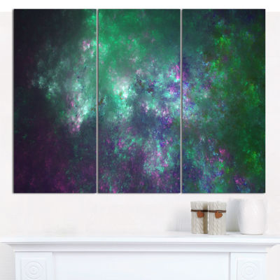 Designart Green Starry Fractal Sky Abstract CanvasWall Art - 3 Panels