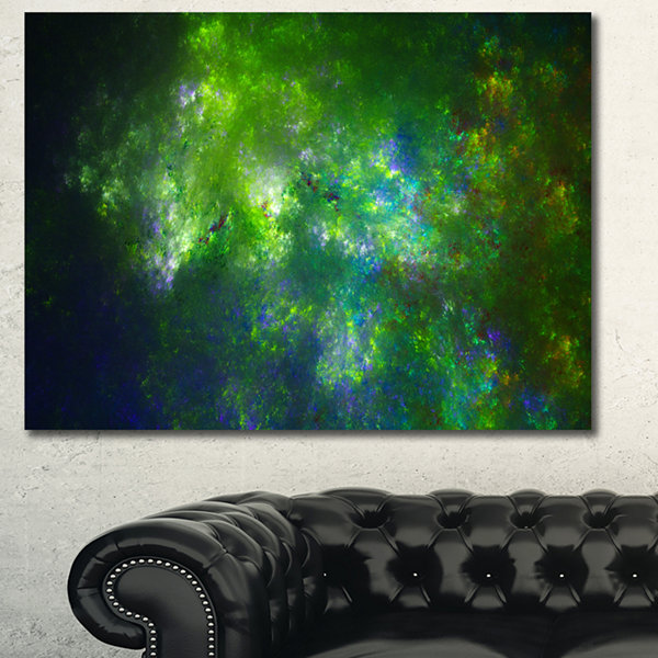 Designart Green Fractal Sky With Blur Stars Abstract Canvas Wall Art