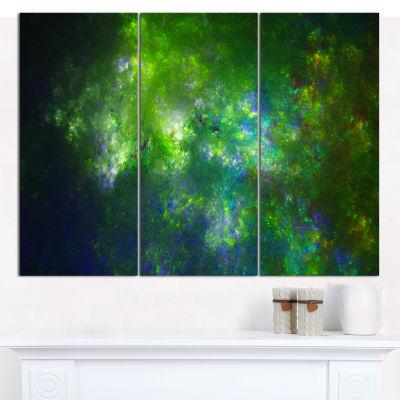 Designart Green Fractal Sky With Blur Stars Abstract Canvas Wall Art - 3 Panels