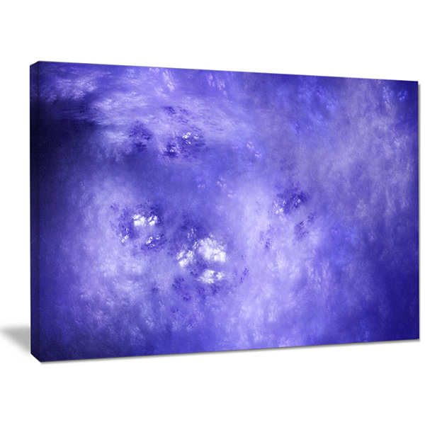 Designart Light Blue Fractal Sky With Stars Abstract Canvas Wall Art