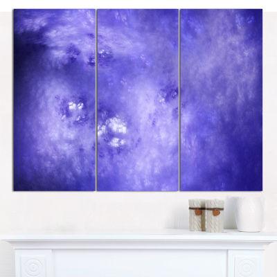 Design Art Light Blue Fractal Sky With Stars Abstract Canvas Wall Art - 3 Panels