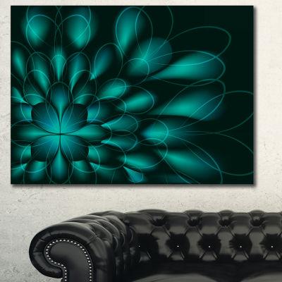 Designart Green Fractal Flower On Black Abstract Canvas Wall Art
