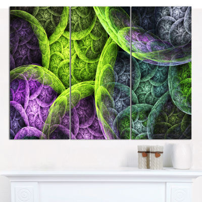 Designart Green Pink Colorful Clouds Abstract Canvas Wall Art - 3 Panels