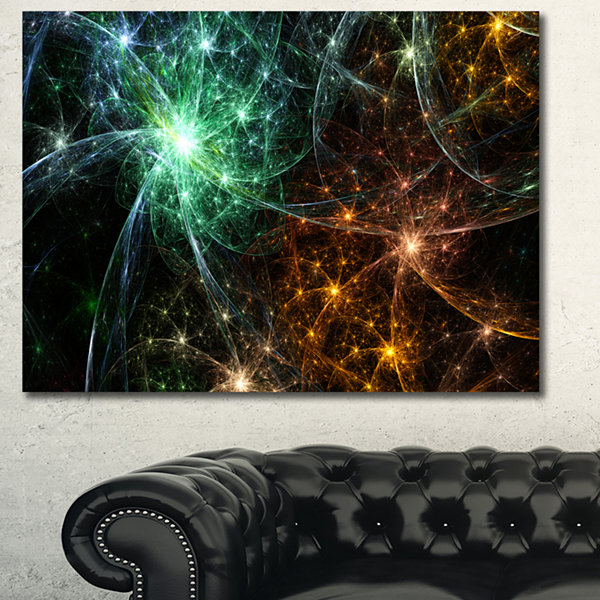 Designart Green Orange Colorful Fireworks AbstractCanvas Wall Art