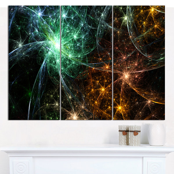 Designart Green Orange Colorful Fireworks AbstractCanvas Wall Art - 3 Panels
