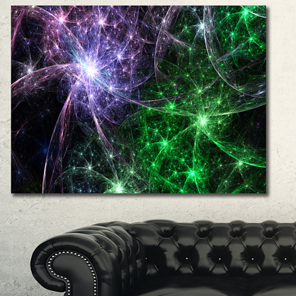 Designart Green Purple Colorful Fireworks AbstractCanvas Wall Art