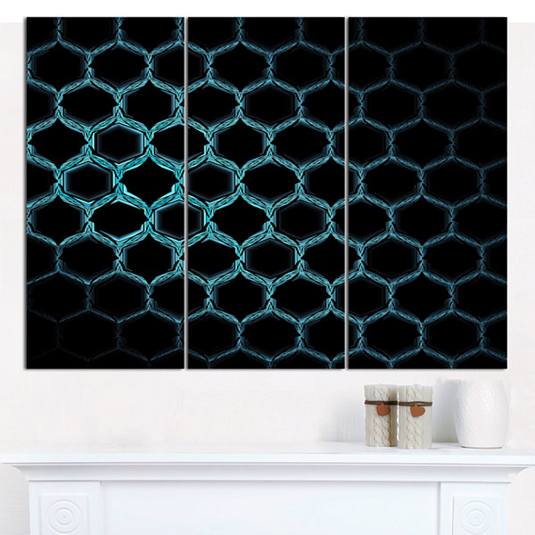 Design Art Honeycomb Fractal Gold Hex Pixel Abstract Canvas Wall Art - 3 Panels