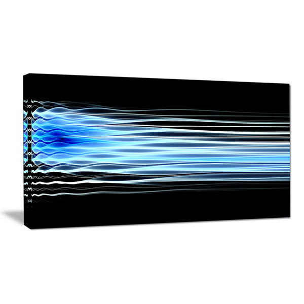 Designart Light Blue Fractal Waves Abstract CanvasWall Art