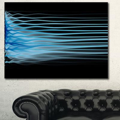 Designart Light Blue Fractal Flames Abstract Canvas Wall Art