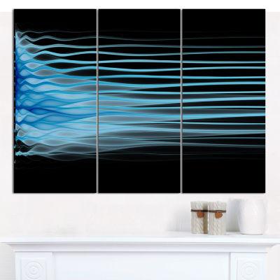Designart Light Blue Fractal Flames Abstract Canvas Wall Art - 3 Panels