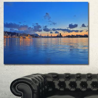 Designart Hong Kong Skyline At Summer Night Abstract Canvas Wall Art