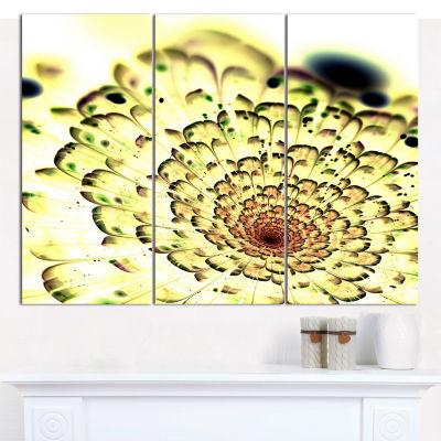 Designart Green Light Fractal Flower Pattern Abstract Canvas Wall Art - 3 Panels