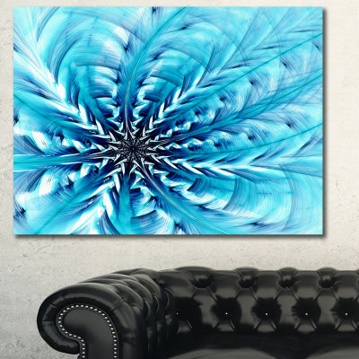 Designart Light Blue Fractal Flower Pattern Abstract Canvas Wall Art